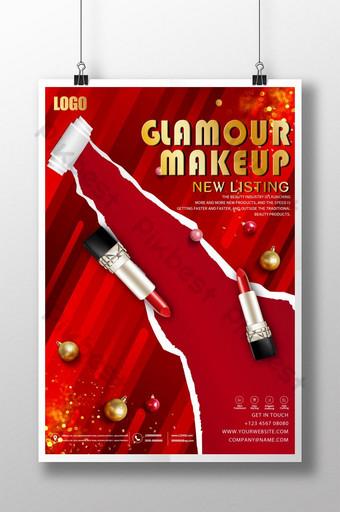 cartel de promoción de belleza de lápiz labial de lujo de estilo rojo Modelo PSD