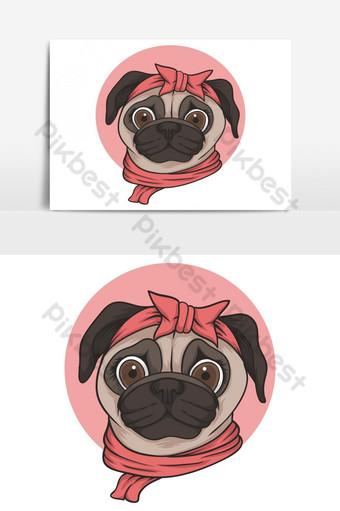 Ilustración de vector de cabeza de perro pug hembra para su empresa o marca Elementos graficos Modelo EPS