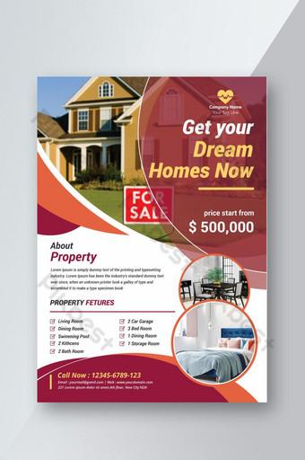 Modèle de Flyer de vente de maison créative Accents de couleur marron et corail Modèle AI