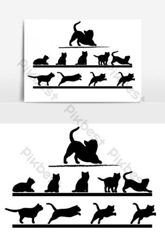 vector creativo de movimiento de gato negro para diseñador Elementos graficos Modelo AI