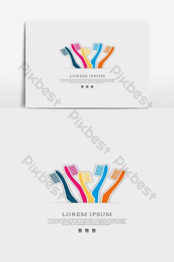 Modèle de logo de clinique dentaire brosse à dents Éléments graphiques Modèle EPS