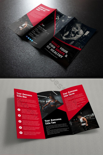 шаблон брошюры для тренажерного зала и фитнеса шаблон PSD