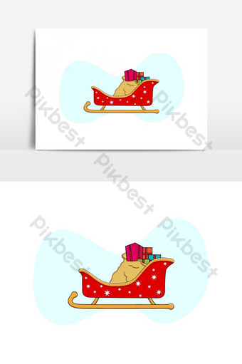ilustración de navidad de trineo de santa claus con regalos Elementos graficos Modelo AI