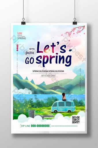 الربيع الأخضر السفر السفر جولة القيادة الذاتية ملصق قالب PSD