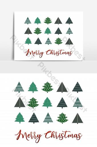 elemento gráfico de vector de saludo de árbol de navidad simple Elementos graficos Modelo AI