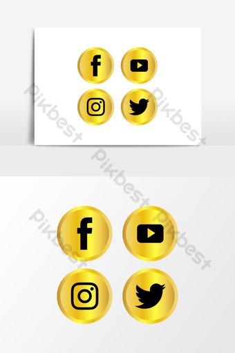 logo de redes sociales set oro de lujo Elementos graficos Modelo AI