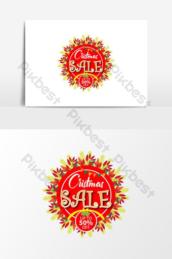 botón de web de insignia de descuento de banner de venta de navidad de oro rojo Elementos graficos Modelo AI