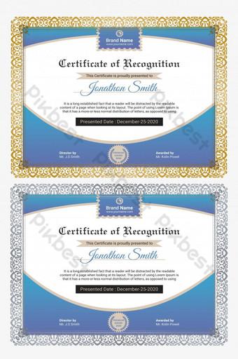 Gradientowy prosty certyfikat uznania projektu szablonu Szablon PSD