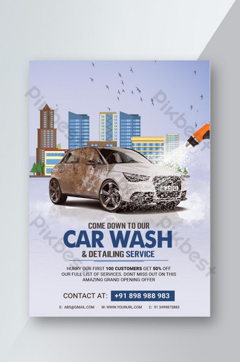 cartel de psd de servicios de detalle de lavado de autos Modelo PSD
