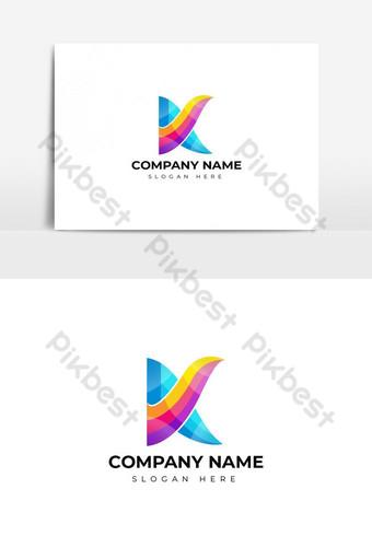 diseño de logotipo de letra k colorido Elementos graficos Modelo AI