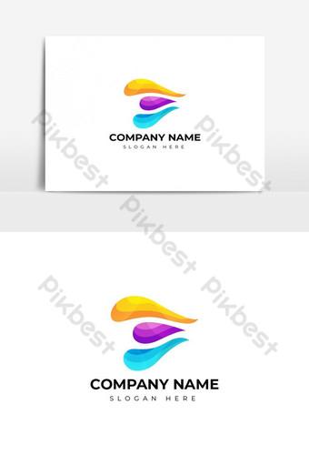 desain logo huruf e berwarna-warni Elemen Grafis Templat AI