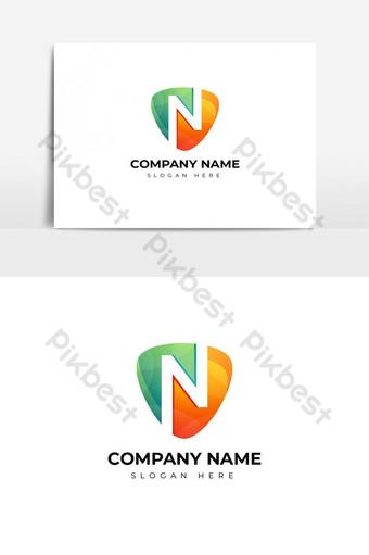 desain logo huruf n berwarna-warni yang modern Elemen Grafis Templat AI