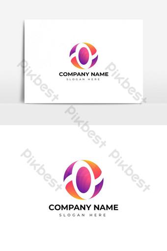 desain logo huruf o berwarna-warni yang modern Elemen Grafis Templat AI