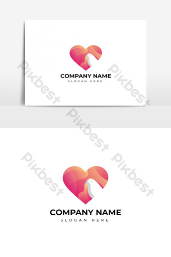 diseño colorido del logotipo del pájaro del amor Elementos graficos Modelo AI