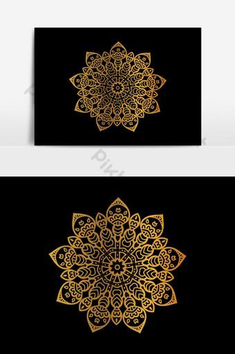 diseño de vector de mandala de color dorado de lujo Elementos graficos Modelo AI