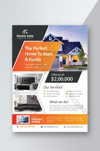 Accueil à vendre Flyer immobilier Modèle AI