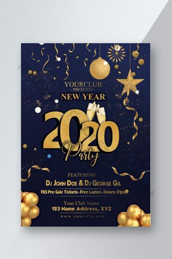 fresco y oscuro año nuevo 2020 psd flyer Modelo PSD