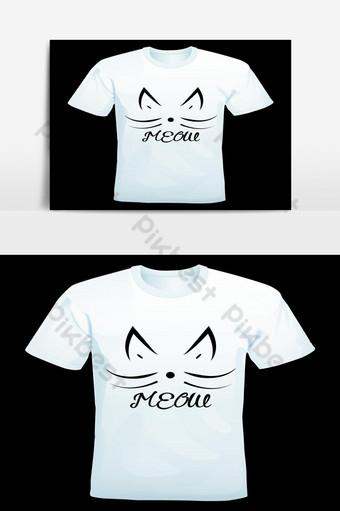 diseño de camiseta único de gato de color negro miau Elementos graficos Modelo EPS