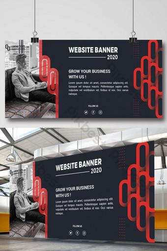 banner de sitio web profesional con formas rojas Modelo AI