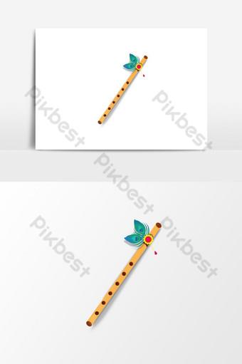 flauta de madera realista psd Elementos graficos Modelo PSD