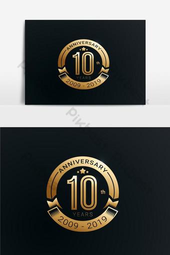 Diseño del logo del 10 ° aniversario 10 ° aniversario Elementos graficos Modelo AI