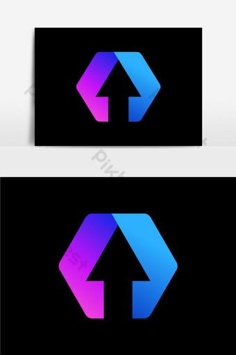 diseño de icono de flecha degradado sobre fondo negro fantástico diseño de icono de flecha de color rosa Elementos graficos Modelo AI