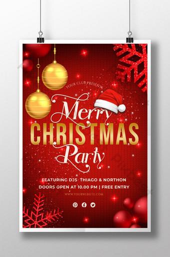 Affiche de flyer de fête joyeux Noël bonne année Modèle AI
