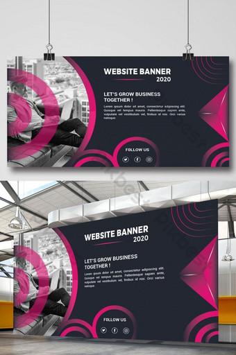 Bannière de site Web professionnel avec des formes de couleur violette Modèle AI