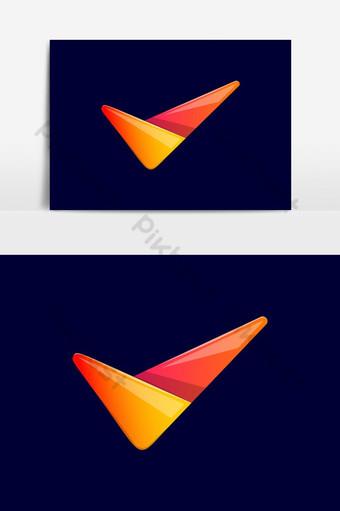 marca de verificación plantilla de diseño de logotipo estilo de arte de línea plana letra v Elementos graficos Modelo AI