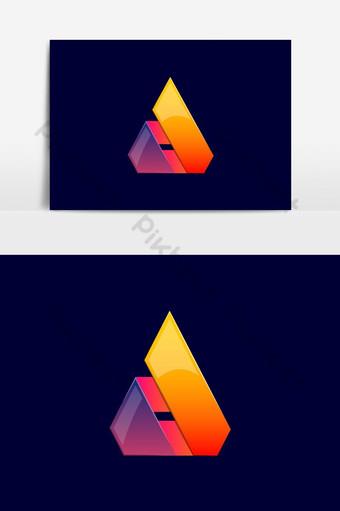 Logotipo de triángulo con estricto vector de esquinas fuertes aislado sobre fondo azul profundo color rojo Elementos graficos Modelo AI