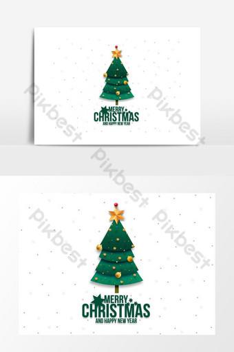 Carte de voeux joyeux Noël avec design de Noël arbre Éléments graphiques Modèle PSD
