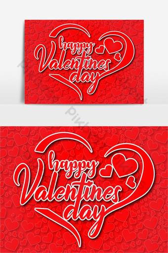 feliz dia de san valentin forma de corazon diseño vector fondo rojo Elementos graficos Modelo AI