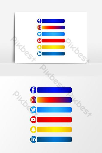 وسائل الاعلام الاجتماعية مجموعة ناقلات الزر الثالث السفلي صور PNG قالب AI