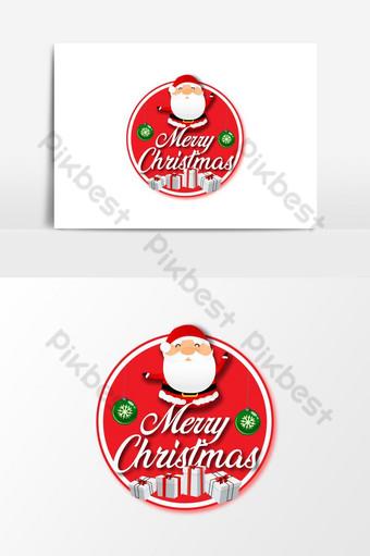 Feliz navidad deseo con diseño de vector de insignia de santa Elementos graficos Modelo AI