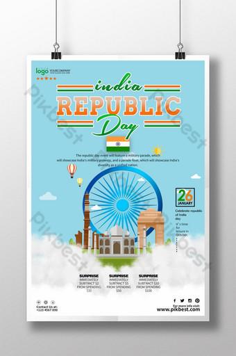 أنيق أزرق فاتح أبيض ملصق يوم الجمهورية الهندية قالب PSD