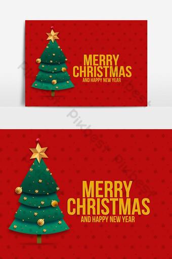 Carte de voeux joyeux Noël en fond rouge avec arbre de décoration Éléments graphiques Modèle PSD
