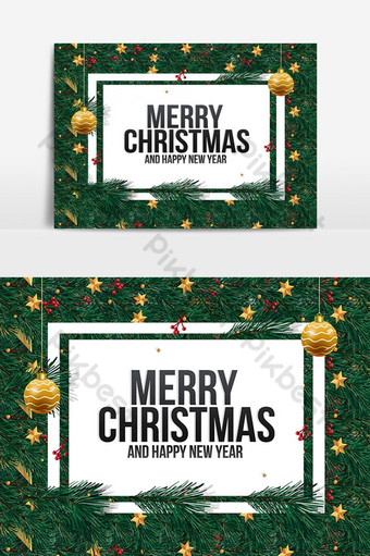 Mise en page créative faite de branches d'arbres de Noël et de notes de cartes papier Éléments graphiques Modèle PSD