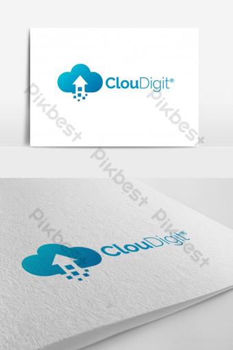 logo de vector de nube digital Modelo AI