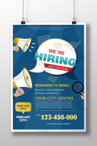 Blue illustration recruitment poster Template AI