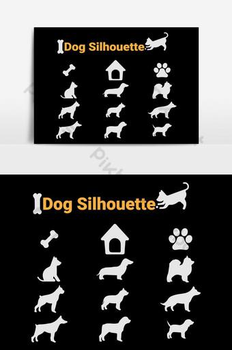 elemento de gráficos vectoriales de silueta de perro Elementos graficos Modelo AI