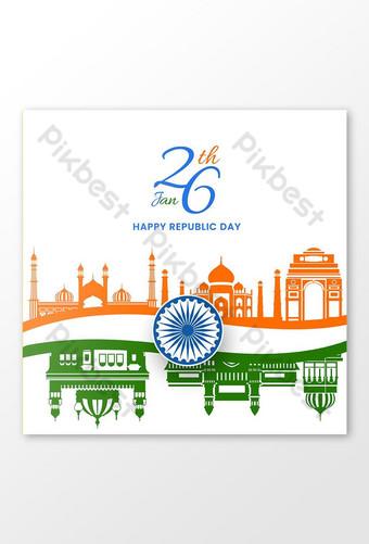 يوم جمهورية سعيد في الهند على وسائل التواصل الاجتماعي قالب EPS