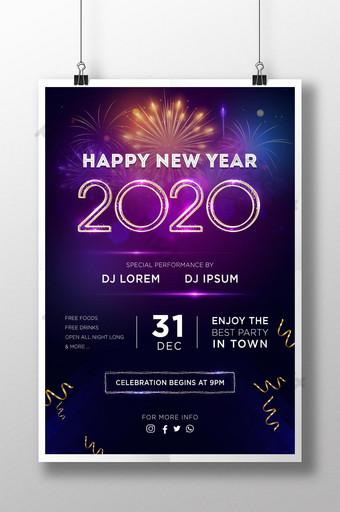 cartel realista de fiesta de feliz año nuevo 2020 Modelo PSD