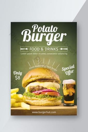 folleto de restaurante de hamburguesas creativo único Modelo PSD