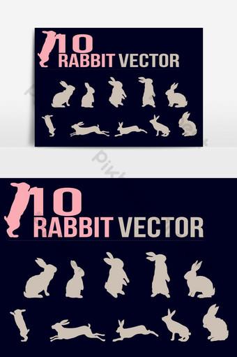10 plantilla de vector de siluetas de movimiento de conejo Elementos graficos Modelo AI