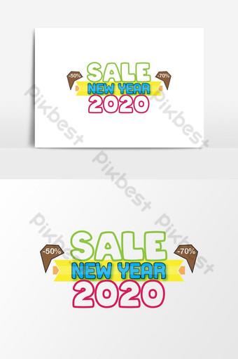 Selamat Tahun Baru 2020 Dijual Banner Vektor Desain Template Dekorasi Grafis Elemen Grafis Templat AI