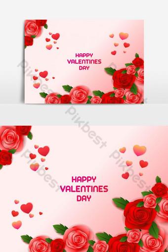 عيد الحب سعيد قالب غلاف بطاقات المعايدة صور PNG قالب AI
