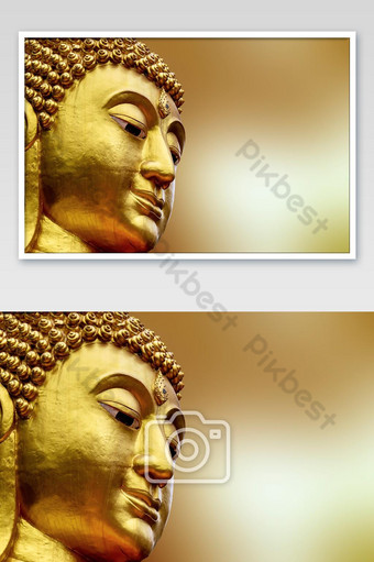 Closeup Face of Statue big buddha in Asia Thailand. golden Colorful on yellow blur Photo Template JPG