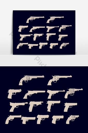 pistolas, siluetas, conjunto, vector, elementos gráficos Elementos graficos Modelo AI