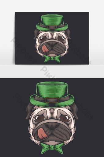 Ilustración de vector de día de San Patricio de cabeza de perro pug Elementos graficos Modelo EPS
