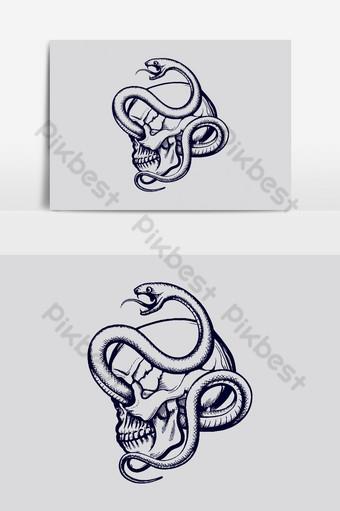 cráneo humano entrelazado por plantilla de diseño de camiseta de grabado de serpiente Elementos graficos Modelo AI
